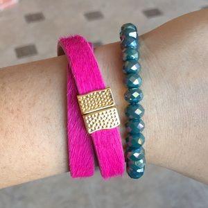 Rustic Cuff pink calfskin wrap Haley bracelet